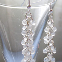 Dangle Earrings, Shaggy Loops Earrings, Bridesmaid Jewelry, Chainmaille Earrings, Bridal Accessory, White Beaded Earrings