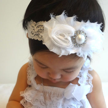 Duo White Lace Baby Girl headband ~ Baby Girl White Shabby Headband