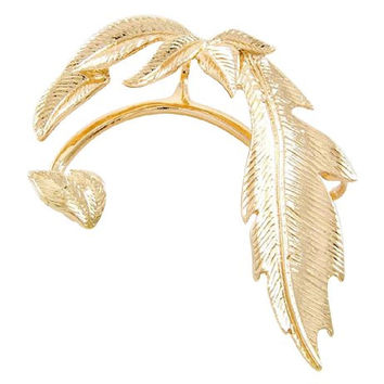 1 Goldtone Leaf Design Left Over Ear Cuff Hook Earring (Goldtone)