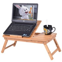 Costway Portable Bamboo Laptop Desk Table Folding Breakfast Bed Serving Tray w/ Drawer - Walmart.com