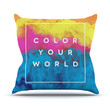 """Galaxy Eyes """"Color Your World"""" Rainbow Paint Throw Pillow"""
