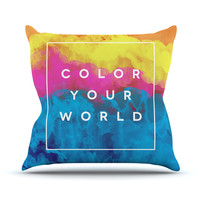 "Galaxy Eyes ""Color Your World"" Rainbow Paint Throw Pillow"