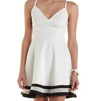 Black/White Mesh Striped Sweetheart Skater Dress by Charlotte Russe