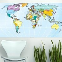 Printed Rectangular World Map , 57.9 x 29.5 Inches | 147 x 75 cm