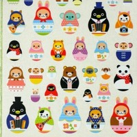 Super Kawaii Animal in Matryoshka doll Shape Japanese sticker
