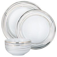 Threshold™ Swirl 12 Piece Dinnerware Set - White