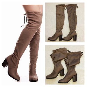 """Sassy Me"" Above the Knee Suede Taupe Heel Boots"