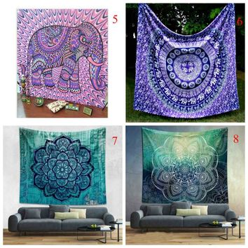 Colorful Indian Elephant Printed Mandala Decoration Aubusson Tapestry Religious Wall Decor Boho Bohemia Beach Blanket  J2Y