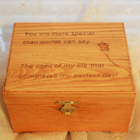 Woodburned Wooden Box;  Hand burned Wooden Box; Custom Wooden Box; Personalized Box; Trinket Box; Memory Box; Valentine Day; Anniversary