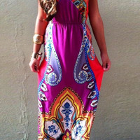 Bohemian Halter Sleeveless Tribal Print Maxi Dress For Women