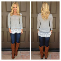 Jayne Lace Hemmed Striped Top