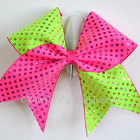"3"" Wide Luxury Cheer Bow - Pink / Lime Polka Dot Flip Flop"