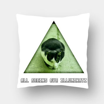 All Seeing Eye Illuminati Cat Cushion Covers | Artist : Nitin Kapoor