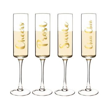 Glasses of Champagne Gold Toasting Flutes (Set of 4)