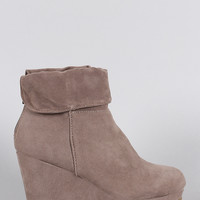 Bamboo Suede Cuff Down Platform Wedge Booties