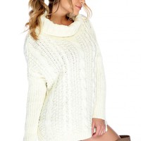 Sexy White Turtle Neck Long Sleeve Crochet Knitted Detailing Sweater