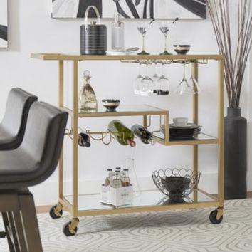 INSPIRE Q Metropolitan Gold Metal Mobile Bar Cart with Mirror Glass Top - Free Shipping Today - Overstock.com - 19796653 - Mobile