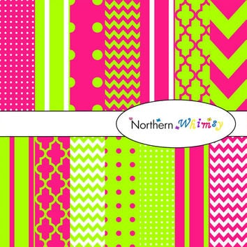 Digital Scrapbooking Paper Background Set – bright pink and lime green – 12x12 chevron , quatrefoil , polka dot  , stripe , INSTANT DOWNLOAD