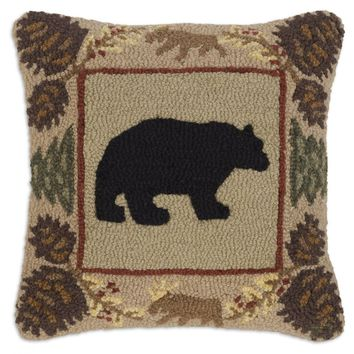 "Northwoods Bear 18"" Hooked Wool Pillow"