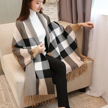 Winter Women Loose Overwear Coat Oversized Knitted Cashmere Poncho Capes lattice Shawl Cardigans Sweater With Tassel