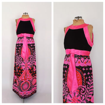 Vintage 1960s Psychedlic Gown Hot Pink Black Velvet Diva Hostess Dress Groovy Floral Formal Dress 60s Mod Indian Ethnic Dress Avant Garde
