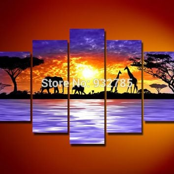 5 Panels 100% Handmade Modern Abstract Oil Painting On Canvas home decor Wall Art Gift African grassland sunrise scenery
