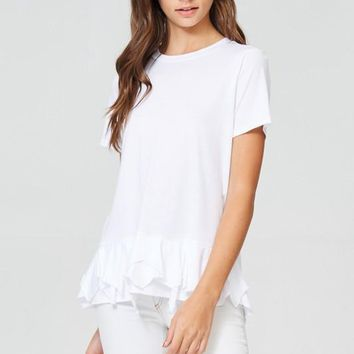 Jolie Women's Cotton Shirt with ruffled bottom front