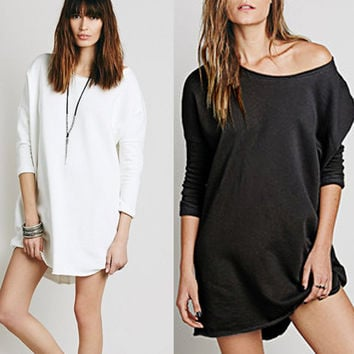 Loose Round Neck 3/4 Sleeve Dress