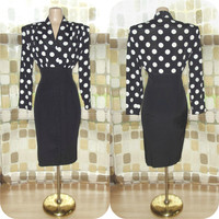 Vintage 80s Black & White Polka Dot Pencil Wiggle Dress High Waist Retro 50s Pin-Up Bombshell M/L