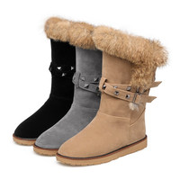 Faux Suede Studded Snow Boots Winter Shoes 2478