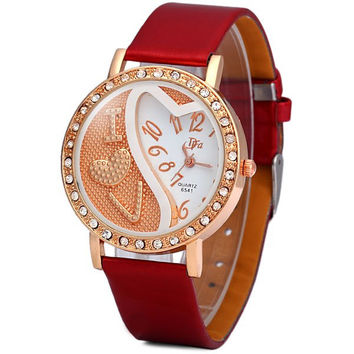 DFa 6541 Female Quartz Watch Diamond Round Dial Leather Watchband