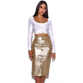 Gold Vegan Button Pencil Skirt