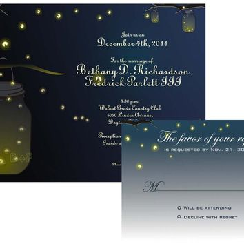 Mason Jar Fireflies Wedding Invitation And RSVP Printable Digital