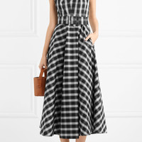 Michael Kors Collection - Belted checked cotton-blend poplin midi dress