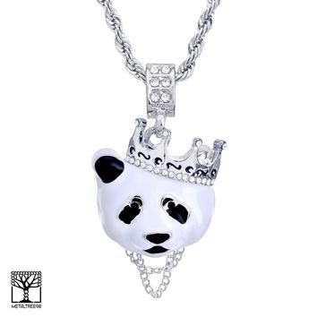"""Jewelry Kay style Men's Iced Crown Panda Silver Plated Pendant 24"""" Rope Chain Necklace HC 1167 S"""