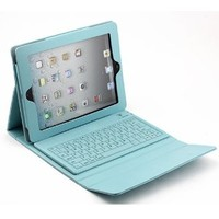 Light Blue Leather Case w/ Built-in Bluetooth Keyboard for Apple Ipad 1/2/3