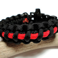 Paracord Bracelet Survival Firefighter Thin Red Line Black Built in Whistle Handmade USA