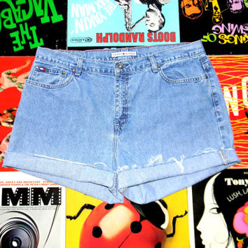 High Waisted Denim Shorts - 90s Light Wash Blue Jean Shorts - Frayed/Cuffed/Naturally Distressed Tommy Hilfiger Shorts Size 16 18 Plus Size