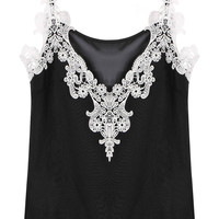 Black Chiffon Cami with Lace Insert