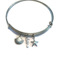 Nautical Charm Bracelet - Beach Charm Bracelet - Alex and Ani Inspired - Adjustable Nautical Bangle - Silver Jewelry - Stacking Bangles