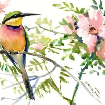 Birds and Flowers, Bee Eater, bird art, bird painting, bird wall art, watercolor birds, bee eater art, european bird, birds of europe