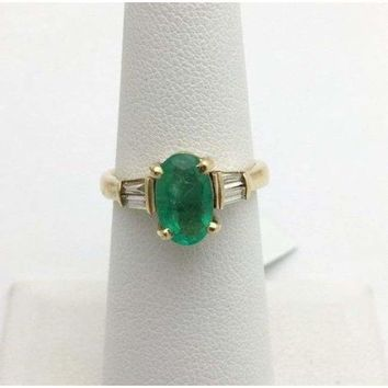 Luxinelle Oval Cut Natural Emerald Gold Ring with Baguette Diamonds Yellow Gold by Luxinelle® Jewelry