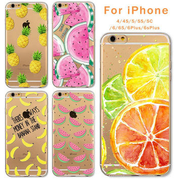 Transparent Fruit Pineapple Lemon Banana Thin Phone Cases For Apple Iphone 4 4s 5 5s Se 5c 6 6s Plus 6plus Soft Silicon Tpu +Nice Gift Box!