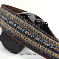 Tribal Camera Strap 4, dSLR or SLR, Southwestern, Brown, Blue, Tan