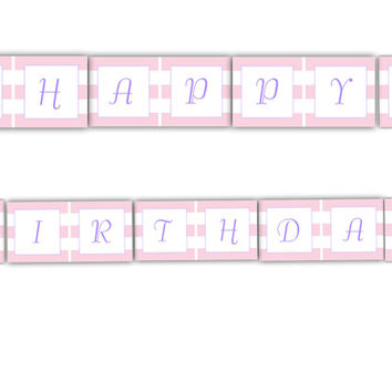 Rubber Ducky Girl Happy Birthday Banner: INSTANT DOWNLOAD