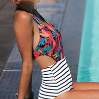 V-Neck Striped Floral Print One Piece Swimsuit