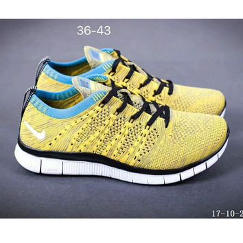 Nike NIKE FREE FLYKNIT NSW barefoot line running shoes high quality perfect new goods F-SSRS-CJZX Yellow