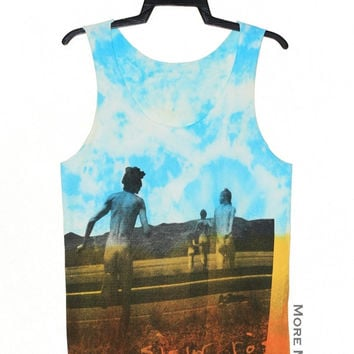 Sigur Ros Tie Dye Light Blue Orange No Sew Singlet Vest Tunic Tank Top Sleeveless Shirt Women Indie Singer Pop Rock T-Shirt Size S-M