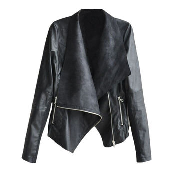 2016 New Autumn Winter Women's Fashion Stylish PU Leather Slim Ladies Jacket [6369168708]