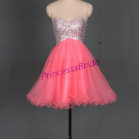 2014 short watermelon homecoming dresses sequins,cute sweetheart tulle gowns for party,chic cheap prom dress under 150.